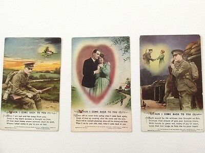 Bamforth Song Cards. When I Come Home To You. WW1 postcards.