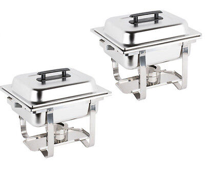2 Pack Catering Stainless Steel Chafer Chafing Dish Set 4 Qt Half Size Buffet