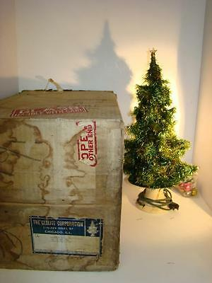 ANTIQUE VINTAGE LIGHTED GLOLITE CHRISTMAS TREE w GLASS RODS & ORNAMENTS 1930S