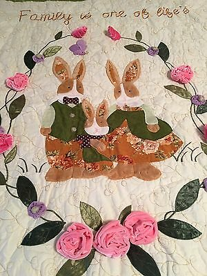 """Beautifully Crafted Baby Toddler Quilt 56""""x48"""" Bunny Family Blessings Quilt"""