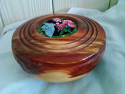 Hand Turned Crafted REDWOOD Decorative Bowl From One Piece of Natural Hard Wood