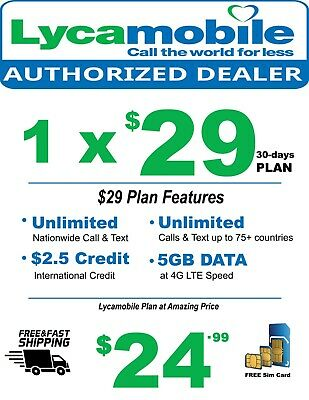 Lycamobile Sim Card With Preloaded Prefunded $29 Plan 5GB Data First Free Month