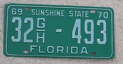 1969 1970 Florida License Plate 1969-70 sunshine state truck tag