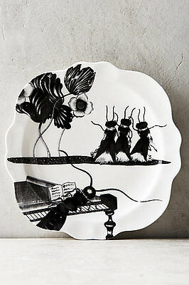"New Anthropologie ""Wild Masquerade"" Cricket Ants Choir Canape Plate Black White"