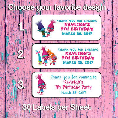 Personalized TROLLS BIRTHDAY PARTY MINI BUBBLES LABELS or Return Address Labels