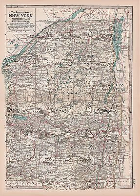Antique 1897 Century Atlas Map - No. 12 - New York - Northern & Eastern Parts