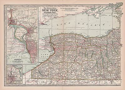 Antique 1897 Century Atlas Map - No. 13 - New York State - Western Part
