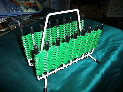 VINTAGE LETTER RACK / HOLDER ~ GREEN & WHITE with BLACK FEET ~ GREAT CONDITION