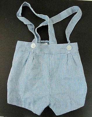 VINTAGE 1970s? CHILD'S BLUE CHECKED ROMPERS - SIZE 6-9 MONTHS - GREAT!