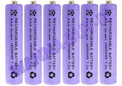 6 x AAA 1800mAh 1.2v Rechargeable Batteries for Cordless Telephones