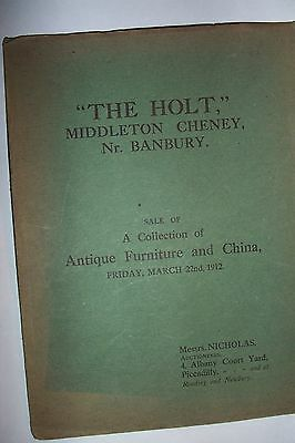 1912 SALE CATALOGUE  THE HOLT MIDDLETON CHENEY Nr BANBURY  of FURNITURE & CHINA