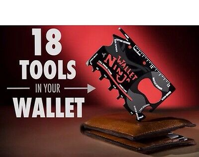 Wallet Ninja 18 in 1 Credit Card Pocket Multi Tool Gadget. Xmas Stocking Filler!