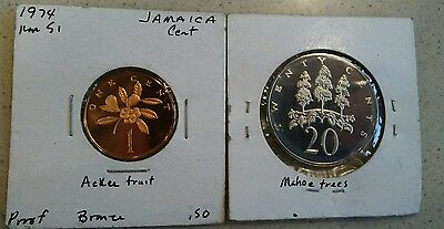 World foreign coin lot Jamaica Jamaican Proof coins KM51 KM55 Caribbean island