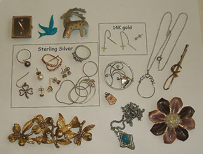 Silvertone Goldtone Sterling silver 14K gold odds ends jewelry lot scrap wear