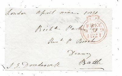 1820 Free Front London To Battle Signed John Dowdeswell Mp For Tewkesbury