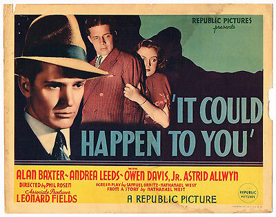 IT COULD HAPPEN TO YOU (1937) Title Lobby Card Republic Crime Drama Alan Baxter