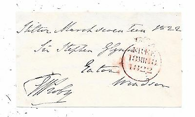 1822 Free Front Shilton To Windsor Signed Granville Leveson Proby Mp For Wicklow