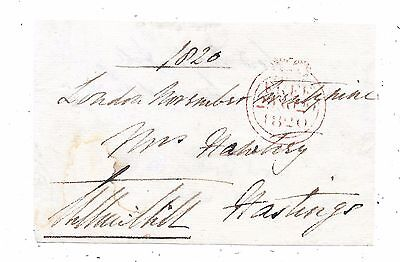 1820 Free Front London To Hastings Signed Lord Arthur Hill Mp For Co.down