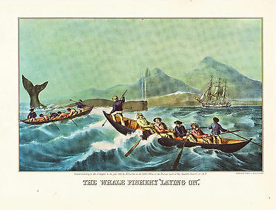 "CURRIER & IVES print of THE WHALE FISHERY ""LAYING ON""  (1955 reprint)"