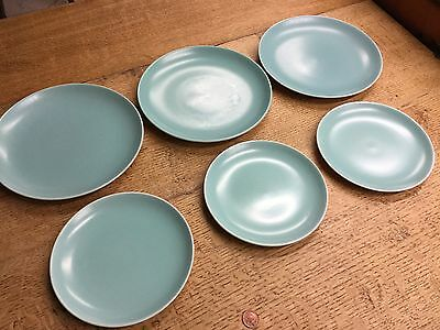 Set Of 6 Old Vintage Turquoise Blue Poole Pottery Dinner & Side Plates