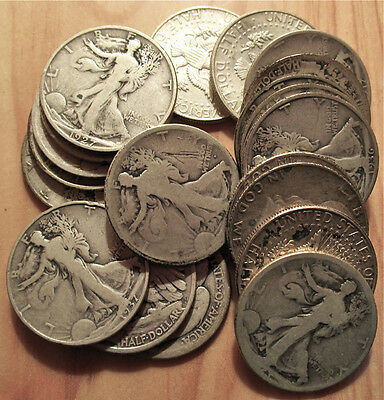 Roll Half Dollars 90% Silver Mostly Walkers  - 1 Roll of 20 - Free Shipping  aa