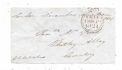 1821 Free Front London To Coventry Signed G.c.antrobus Mp For Aldborough