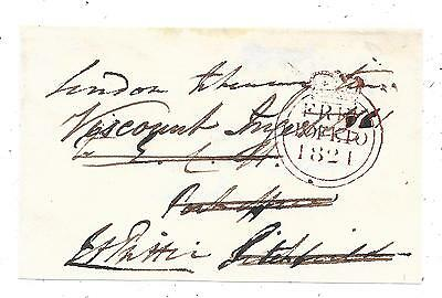 1821 Free Front London To Litchfield Signed Francis Prittie Mp For Tipperary