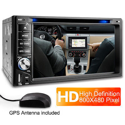 "6.2"" Double 2 Din In Dash Touch Car Stereo DVD Player GPS SAT NAV + Camera UK"