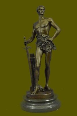 Collectible 100% Solid Bronze Sculpture Naked Tarzan Royal Prince Roman Figurine