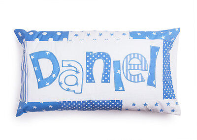 Boys handmade personalised patchwork pillow case MANY COLOURS