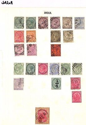SA208 INDIA QV Original album page from old-time collection