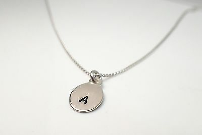 Personalised Hand Stamped .925  Sterling Silver Initial Tag Necklace / Pendant