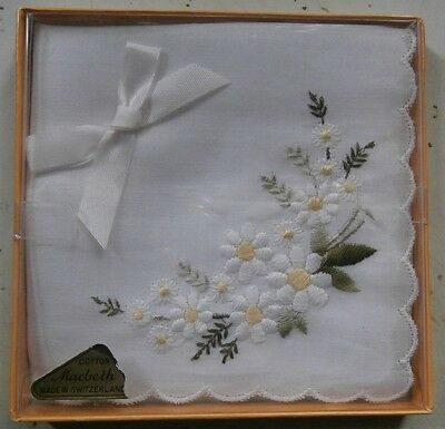 TWO VINTAGE HANDKERCHIEF - Embroidered LAVENDER & DAISY Flowers - LOOK!