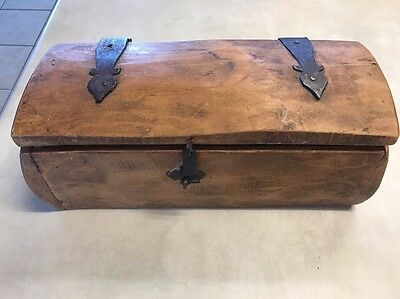 Beautiful Old Antique Wooden Box latch and hinged lid