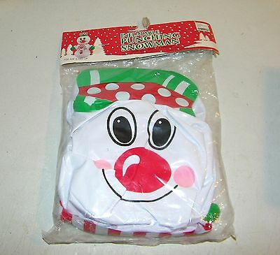 """Vintage NOS Inflatable 20"""" Vinyl Punching Snowman Christmas Woolworth's & Co NEW"""