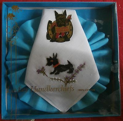TWO SOUVENIR HANDKERCHIEF - Embroidered SCOTTY DOG - LOOK!