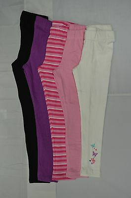 Plain Children Age 5-12 Cotton Full Length Leggings Girls Kids Black White Pink