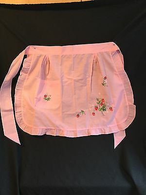 Vintage Frill Apron, Baby Pink, with Embroidery of Fruit, Sz S/M
