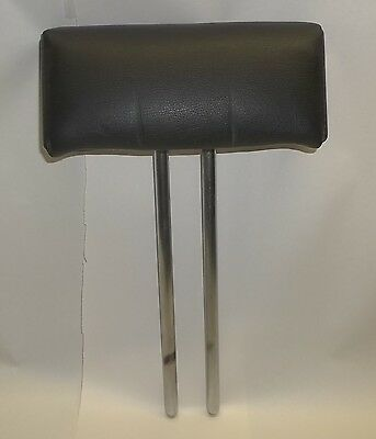 "Vintage 2-Post Notched Black Leather Angled 8x2.5.3.25"" Barber Chair Head Rest"