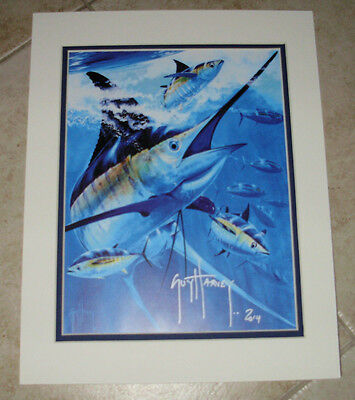 Guy Harvey / BLACK & BLUE    (HAND SIGNED)   mini print 11X14  INCHES