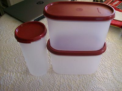 Tupperware Set Of 3 Canisters With Cranberry Lids