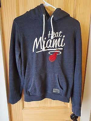 Miami Heat Nba Gray Retro Style Stitched Hooded Sweatshirt Campuscrew Men's Med