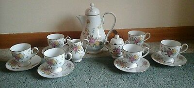 Stunning Noritake Ireland Scala 2761 Dresden Pattern Coffee Set 15 Piece