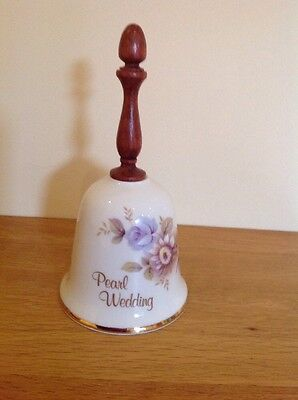 AJL China bell with wooden handle - Pearl Wedding Anniversary