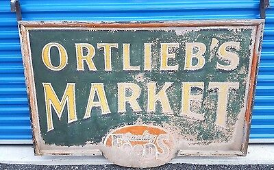 Antique 5 Foot Double Sided Wooden Sign- ORTLIEB'S MARKET, Dolgeville NY Store