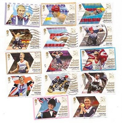 GB 2012 Paralympic Gold Medal Winners 14 different used on paper!