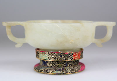 Antique Chinese Jade White Nephrite Stone Carved Bowl Cup MARK - Qing 18th 19th