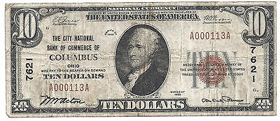 $10.00 Circulated 1929 NATIONAL BANK NOTE Columbus, OH. T1 Charter #7621
