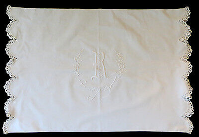 Antique EMBROIDERED PILLOWCASE Monogrammed R Scalloped LACE Trim VINTAGE Linen