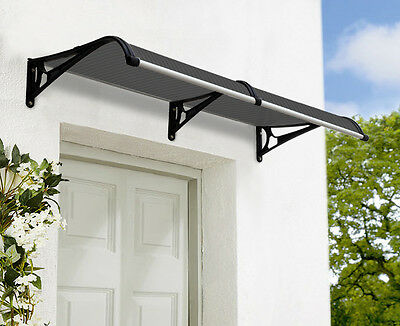 Outdoor Window Awning 2.4m x 1m with Rain Gutter Tinted Cover- Black Brackets